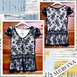 🌻 Merona Black Floral Lace Top 🌻
